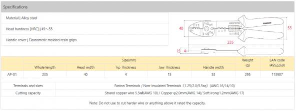 Thông số kỹ thuật Kìm Tsunoda TP-01