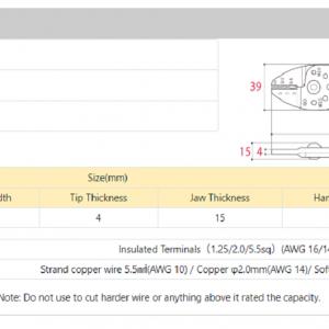 Kìm Tsunoda AP-04 - Thông số kỹ thuật